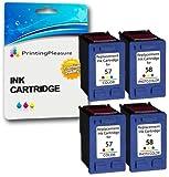 Printing Pleasure 4 Druckerpatronen für HP Photosmart 7350 7600 7150 7550 PSC 2510 2110 2210 Deskjet 5150 5550 450cbi 450ci Officejet 6110 6150 | kompatibel zu HP 57 (C6657AE) & HP 58 (C6658AE)