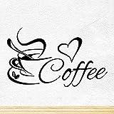 wandaufkleber kinderzimmer wandaufkleber grau Kaffeetasse mit Herz Küche Tee für Coffee Shop Zeichen Tasse Restaurant Tür Fenster Pub Cafe Decor Love