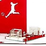 Pop Up Karte'Fußballfan' Rot & Weiß - 3D Fußball Karte Bayern, Köln, Nürnberg, Mainz - Fußball Geburtstagskarte, Einladung