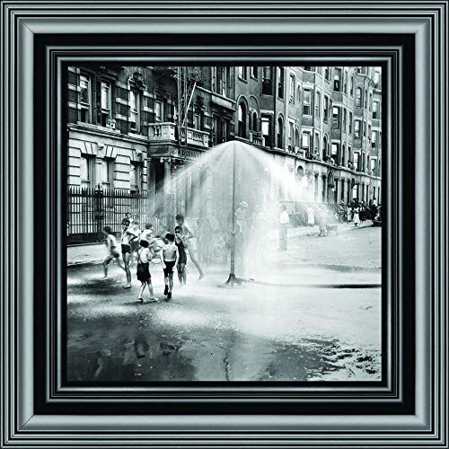 Water Play in Harlem, NY; Vintage-Bilderrahmen, historischer Stil, 25,4 x 25,4 cm 8535 10x10 schwarz (Party City In Manhattan, New York)