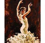 Huangzhang No Frame Eccellente Artista Dipinto A Mano Persia Diva Danzante Danza Dipinto Ad Olio da Numeri Samba Danzatore Disegno Decorativo 40 x 50 cm
