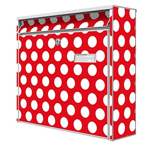 Burg Wächter Design Briefkasten | Postkasten 36 x 32 x 10cm groß | Stahl weiß verzinkt mit Namensschild | großer A4 Einwurf, 2 Schlüssel | Motiv Punkte Rot