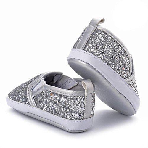 Baby Sneakers, OverDose Neugeborene Baby Mädchen Krippe Schuhe Soft Sole Anti-Rutsch Baby Sneakers Sequins Schuhe Silber