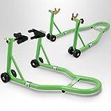 BITUXX® Motorradständer hinten & vorn Motorrad Montageständer Transportständer Grün Belastbar bis 250 kg pro Ständer