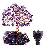 CrystalTears Edelstein Baum des Lebens Dekoration Wire Wrap Trommelsteine Lebensbaum +Fengshui Edelstein Kristall Engel Figuren (Amethyst Set)