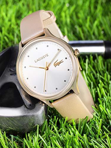 Lacoste Damen Datum klassisch Quarz Uhr mit Leder Armband 2001007