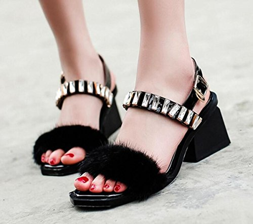 Beauqueen OL Casual Women Sandali Feather BELT Rhinestones Cinturino alla caviglia Open Toe Chunky Mid Heel Sandali UE € 34-39 Black