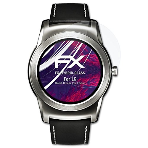 atFoliX Glasfolie kompatibel mit LG Watch Urbane 2nd Edition Panzerfolie, 9H Hybrid-Glass FX Schutzpanzer Folie