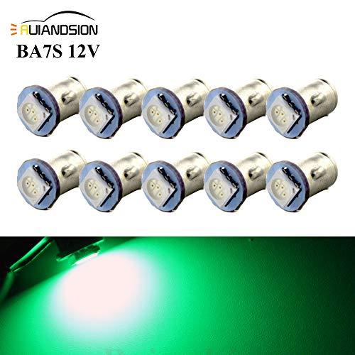 Ruiandsion 10x BA7S LED Éclairage intérieur pour auto 12V 5050 1SMD 30lm, vert
