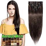 Echthaar Clip in Extensions günstig Haarverlängerung 8 Tressen 18 Clips Remy Human Hair 55cm-75g(#2 Dunkelbraun)