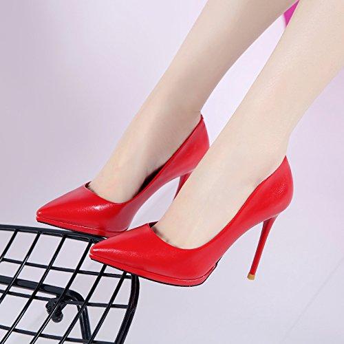 HGTYU-- Scarpe Con Il Tacco Di 10Cm Femmina Bene Superficiale Bocca Scarpe A Punta Red Matrimonio Scarpe E Partita gules