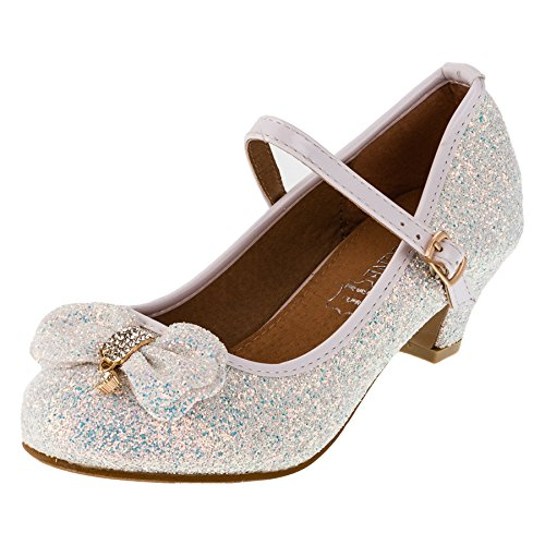 Cherine Festliche Mädchen Glitzer Pumps Leder Innensohle M383ws Weiß 35 (Weiße Schuhe Kommunion Jungen Für)