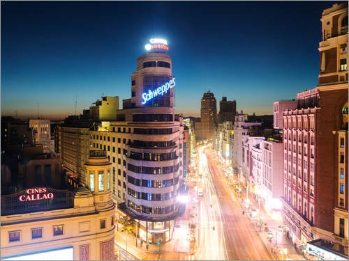 Posterlounge Lienzo 80 x 60 cm: Madrid in The Night