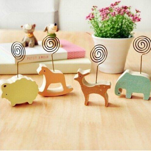 Uchic 6PCS Korea niedlich kreative Schreibtisch aus Holz Memo Clip Cartoon Animal Postkarte Trojaner Meldung Ordner/Notizen-Ordner Clip Foto Zufällige Stil -
