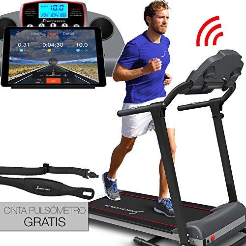Caminadora Sportstech F10 con aplicación de control Smartphone, cinta de pulso incluida, superficie extra grande para correr, Bluetooth, 1HP, 10KM/H, para caminar y correr con 13