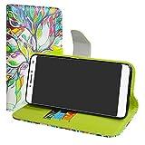 LiuShan Alcatel 3v Hülle, Brieftasche Handyhülle Schutzhülle PU Leder mit Kartenfächer und Standfunktion für Alcatel 3v Smartphone (mit 4in1 Geschenk verpackt),Love Tree