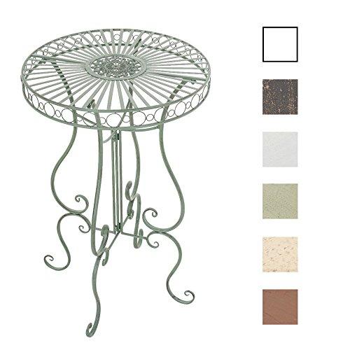 CLP Table Mange - Debout Ronde Shiva Ø 65 cm en Métal avec Hauteur 100 cm - Table d'Extérieur de Style Nostalgique Idéale pour Balcon ou Terrasse - Table de Café de Différentes Couleurs: Vert Antique