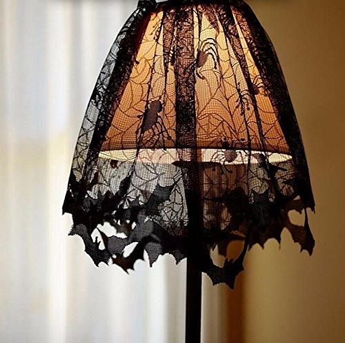 PRIMI Halloween Spitze Gothic Style Lampenschirme schwarz Fledermäuse Spinnen Lampenschirm Halloween Party (Halloween Fenster Kostüm)