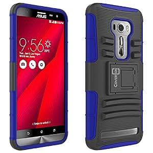 "Asus Zenfone 2 Laser Case, CoverON® [Explorer Series] Holster Hybrid Armor Belt Clip Hard Phone Cover For Asus Zenfone 2 Laser 5.5"" ZE551KL / ZE550KL Holster Case - Blue & Black"