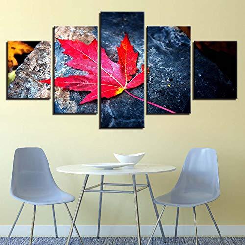 ZKLIB Wohnkultur HD Leinwand Malerei 5 Stück Set Kunst Maple Leaf Modular Art Poster, 30x40cmx2 30x60cmx2 30x80cmx1 -