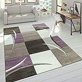 Designer Tappeto Moderno Taglio Sagomato Colori Pastello con Motivo A Quadri in Beige Lilla, Dimensione:200x290 cm