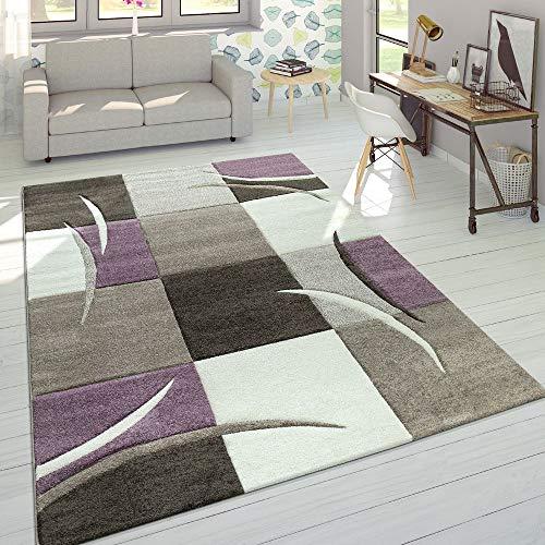 Designer Tappeto Moderno Taglio Sagomato Colori Pastello con Motivo A Quadri in Beige Lilla, Dimensione:120x170 cm