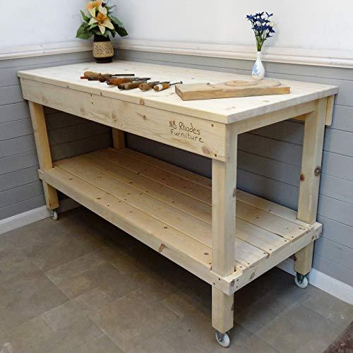 Werkbank aus Holz, 0,7 m - 2,1 m, 33 mm dicke Oberseite und Räder, Size=1.4m x 0.58m £506, Vice=No vice, 1