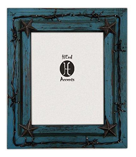 (HiEnd Akzente Western Distressed Holz mit Ring aus und Sterne Rahmen, 8x 10, Türkis)