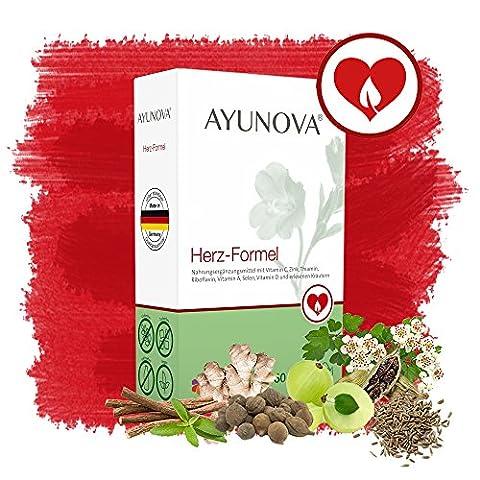 AYUNOVA Herz-Formel - 60 vegane Kapseln mit der einzigartigen Kombination aus bewährten Pflanzen, essentiellen Vitaminen und Mineralstoffen - Ihr täglicher Beitrag für eine geschützte Herzfunktion.