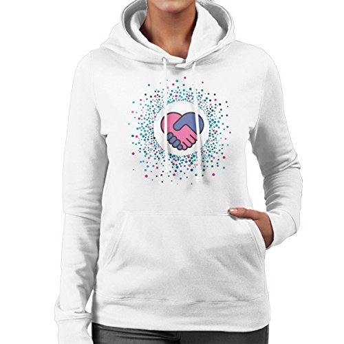 Valentines Day Hands Holding Heart Shape Dots Rays Women's Hooded Sweatshirt white