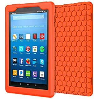 MoKo Case for All-New Amazon Fire HD 8 Tablet (7th / 8th Gen, 2017 / 2018 Release) - [Honey Comb Series] Light Weight Shock Proof Soft Silicone Back Cover [Kids Friendly] for Fire HD 8, ORANGE