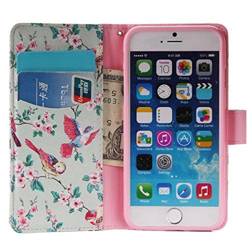MOONCASE iPhone 6 Plus Étui, Conception de Modèle Bookstyle Étui Housse en Cuir Case à rabat Coque de Protection Portefeuille TPU Case avec Carte de Crédit Fentes Béquille pour iPhone 6 Plus / 6S Plus YG10
