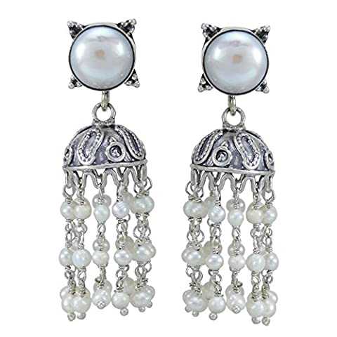 Banithani Beautiful 925 Sterling Silver Jhumka Dangle Designer Earring Jewellery