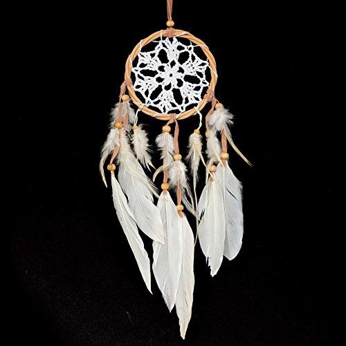 Traumfänger - Dreamcatcher gehäkelt, Rattanring 10,5 cm weiß, gute Träume, Indianer