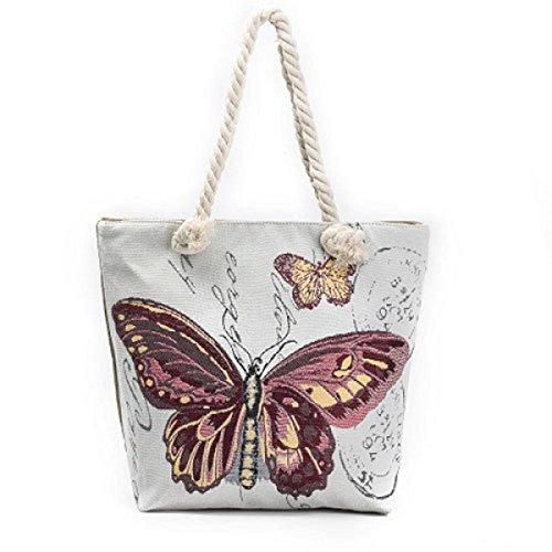FZHLY Creativo Corda Farfalla Jacquard Canvas Bag,546b 546d