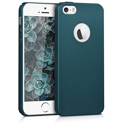 kwmobile Schutzhülle kompatibel mit Apple iPhone SE / 5 / 5S - Hülle [Hardcase] und [rutschfest] - Cover in [Petrol metallic]
