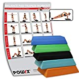 POWRX Balance Pad Deluxe Trapez inkl. Workout I Ganzkörpertraining gelenkschonend für Gleichgewicht Stabilität Koordination I Hautfreundliches TPE I Versch. Farben