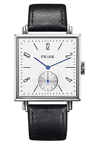 FEICE Uhren Eckige uhr Mechanische Automatik uhr mit Saphirglas Lederarmband Edelstahl Fashion Klassisch Automatikuhr für Herren Damen unisex Ø 34mm - FM301