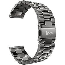 HOCO Gear S3 Bracelets de Montre Pinhen 22mm Acier Inoxydable un Replacement de Bracelet Milanais pour Samsung Gear S3 Frontier/ S3 Classic (Steel Black)