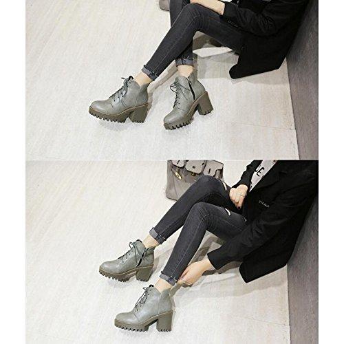 Haizhen Bottines Femmes Chaussures Pu Hiver Bottes D39 hiver Confort Carve  Talon Round Toe Lacets Pour Bureau En Plein Air Et Carrière Noir   Brun    Gris ... eb4ecc315516