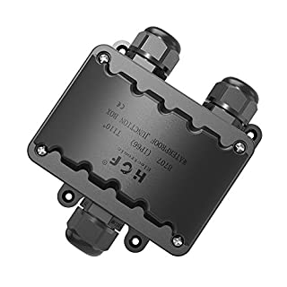 Junction Box Cable Connector ,Larger 3-way Junction Box Outdoor Lighting Connector IP66 Waterproof - Black Electrical External Coupler, M20 Cable Gland 9mm-14mm(ABS+PVC)
