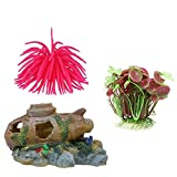 #6: Aquarium Decoration Combo of 3 Items, Sea Anemone, Plant & Submerine