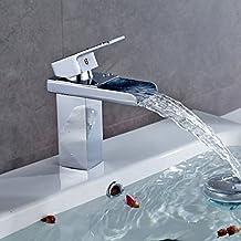 Auralum® Design Robinet de lavabo Mitigeur D'évier Cascade Salle De Bains Laiton Chromé