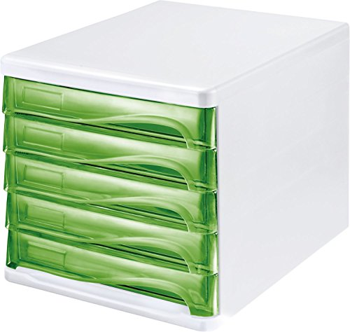 Helit H6129450 Schubladenbox Economy, 5 Fächer, beschriftbar, lichtgrau/transluzent grün