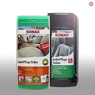 SONAX LederReinigung Lotion 500 ml 02912000 + Lederpflege Tücher Box 04123000