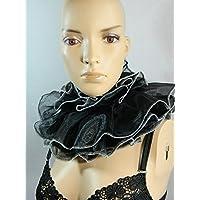 Halskrause schwarz weiß Kragen Clown Harlekin Pierrot Verkleidung Kostüm Halsband Mühlsteinkragen