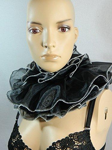 Halskrause schwarz weiß Kragen Clown Harlekin Pierrot Verkleidung Kostüm Halsband Mühlsteinkragen (Clown Pierrot Kostüm)