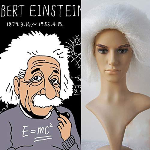 RATWIFE Halloween Perücke Einstein mit weißer Perücke Halloween Perücke Cosplay Perücke (Perücke Halloween Einstein)