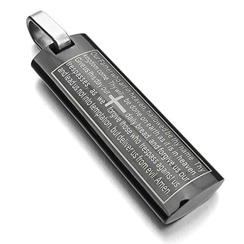 MunkiMix Acier Inoxydable Pendentif Collier Noir Anglais Bible Seigneurs Prière Croix Homme,58cm chaîne