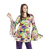 Kostümplanet Hippie-Kostüm Damen Top Flower Power 60er Größe 36/38